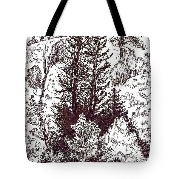 Mountain Pines And Aspen Field Sketch Tote Bag by Dawn Senior-Trask