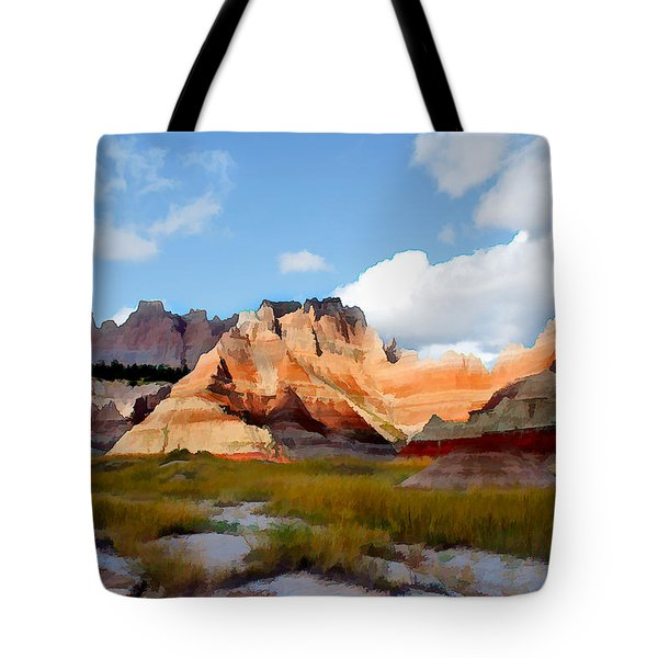 Mountains And Sky In Badlands National Park Tote Bag by Elaine Plesser