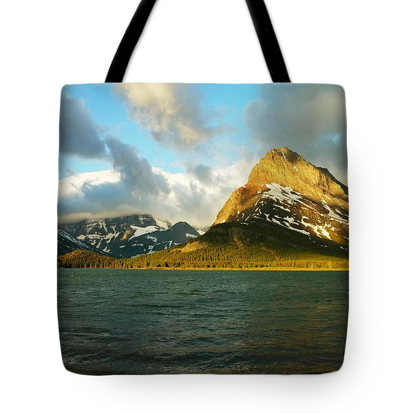 Mountains At Many Glacier Tote Bag by Jeff Swan