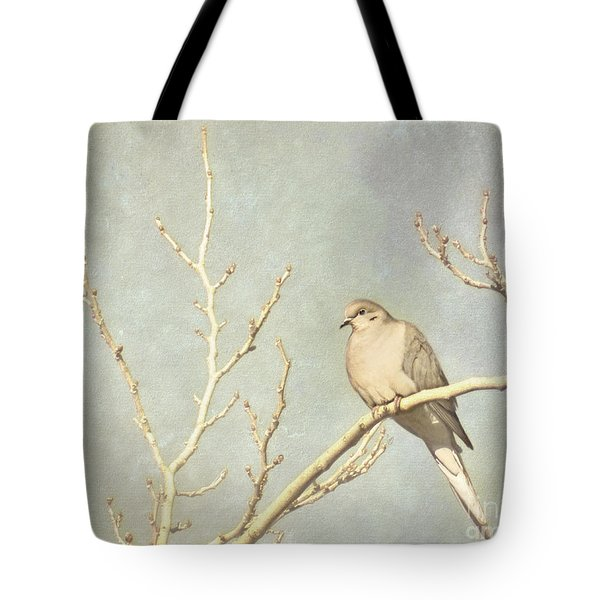 Mourning Dove In Winter Tote Bag