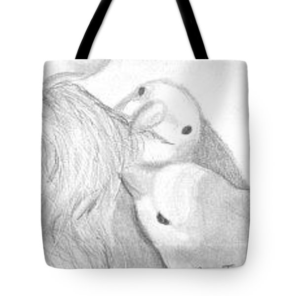 Tote Bag featuring the drawing Moustache Grooming Lovebirds - Aceo by Ana Tirolese