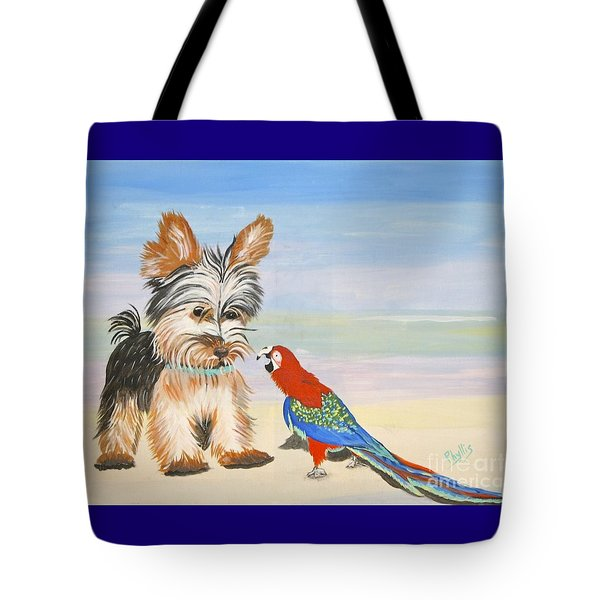 Mouthy Parrot Tote Bag by Phyllis Kaltenbach
