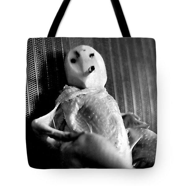 Mr. Chicken Potato Head Takes A Smoke Break In The Back Seat Of My Car Tote Bag