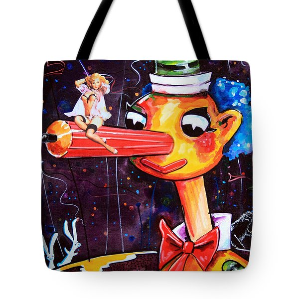 Tote Bag featuring the painting Mr Squiggles New Friend by Leanne Wilkes