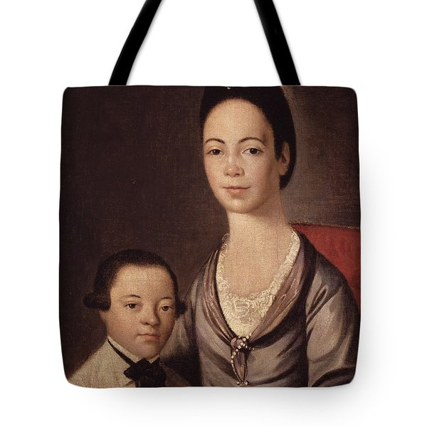 Mrs. Aaron Lopez And Her Son Joshua Tote Bag by  Gilbert Stuart