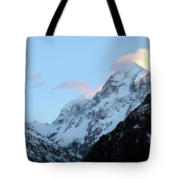 Tote Bag featuring the photograph Mt. Cook With Sunlit Clouds by Laurel Talabere