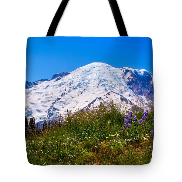 Mt Rainier Meadow With Lupine Tote Bag by David Patterson