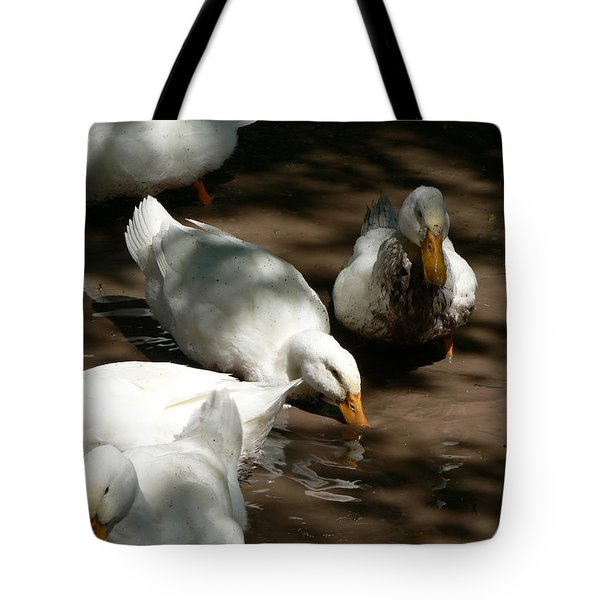 Tote Bag featuring the photograph Muddy Ducks by Laurel Best