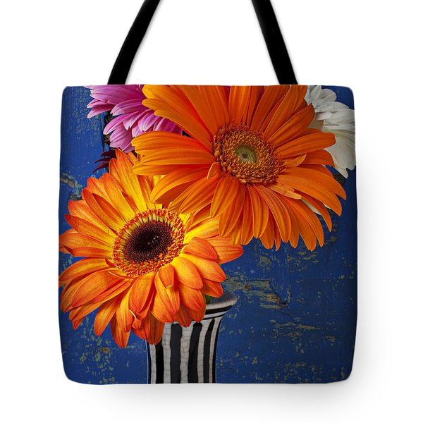 Mums In Striped Vase Tote Bag by Garry Gay