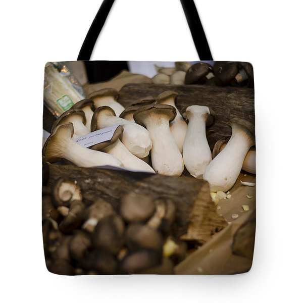 Mushrooms At The Market Tote Bag by Heather Applegate