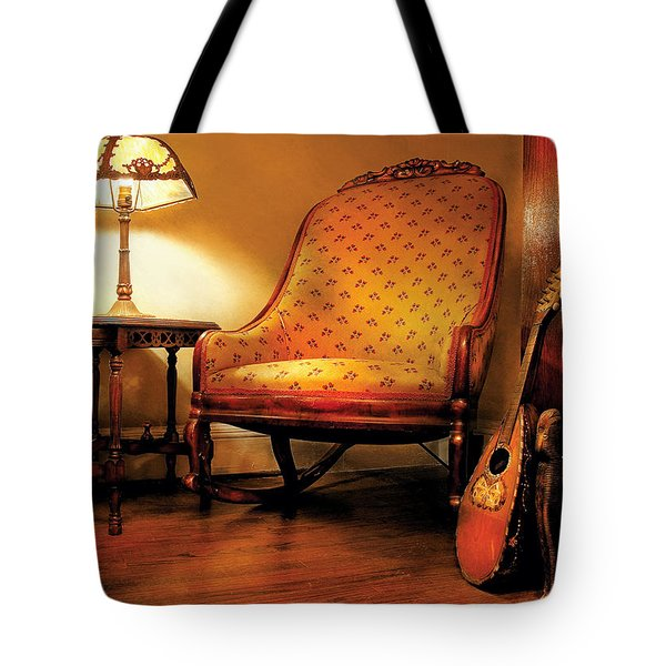Music - String - The Chair And The Lute Tote Bag by Mike Savad