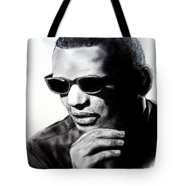 Tote Bag featuring the painting Music Legend Ray Charles by Jim Fitzpatrick