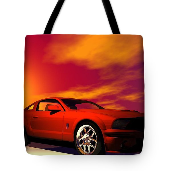 Tote Bag featuring the digital art Mustang Gt by John Pangia