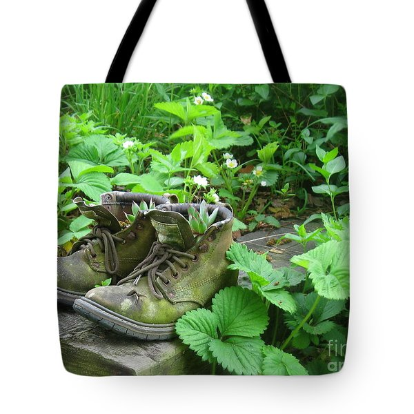 Tote Bag featuring the photograph My Favorite Boots by Nancy Patterson