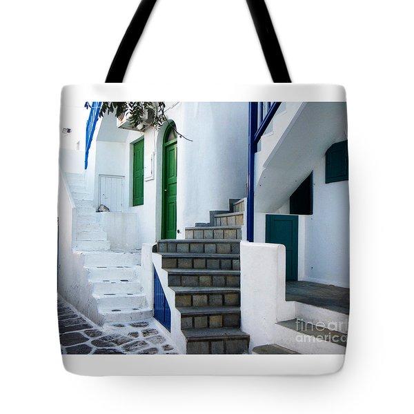 Mykonos Stairs Tote Bag by Rebecca Margraf