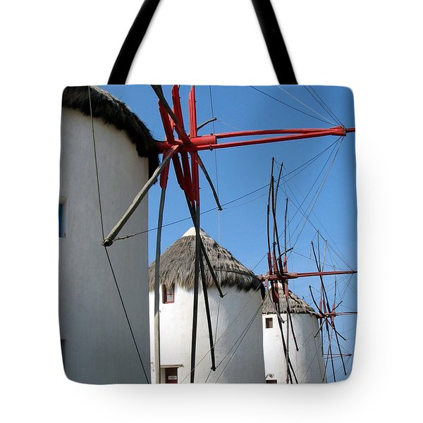 Mykonos Windmills Tote Bag by Carla Parris