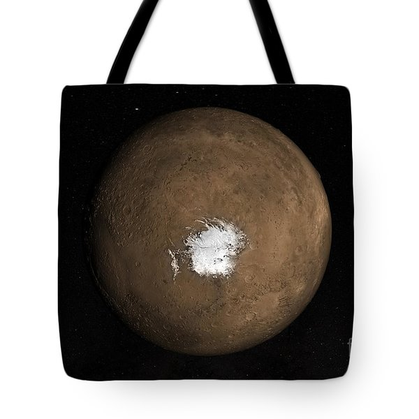 Nadir View Of The Martian South Pole Tote Bag by Stocktrek Images