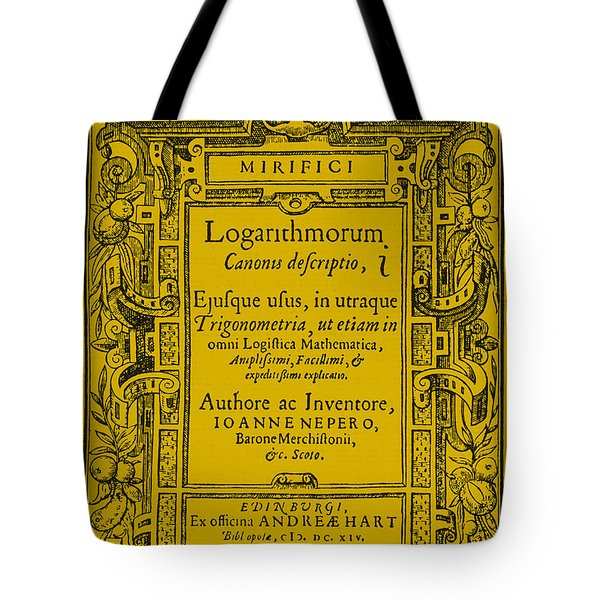 Napiers Treatise On Logarithms Tote Bag by Photo Researchers