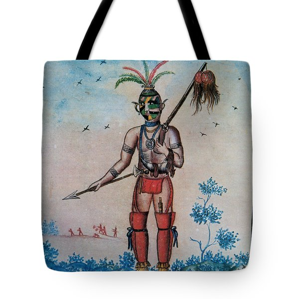 Native American With Scalps Mid-18th C Tote Bag by Photo Researchers