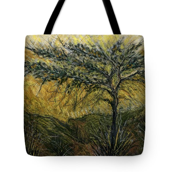 Nature Landscape Green Thorns Acacia Tree Flowers Sunset In Yellow Clouds Sky  Tote Bag by Rachel Hershkovitz