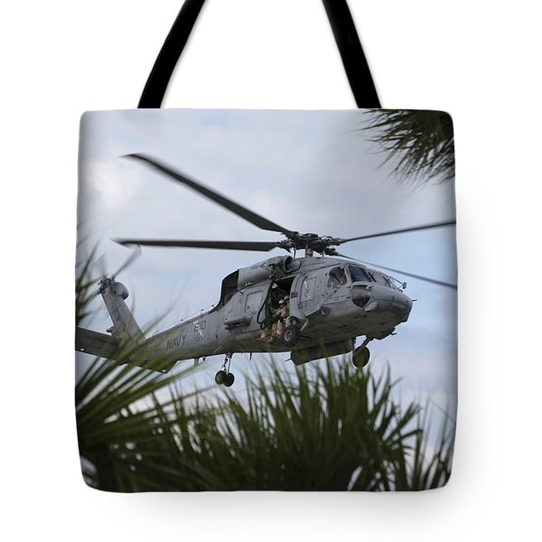 Navy Seals Look Out The Helicopter Door Tote Bag