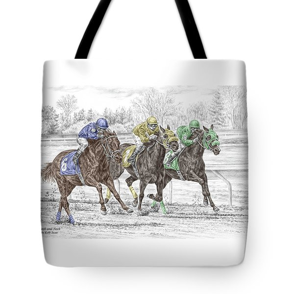 Neck And Neck - Horse Race Print Color Tinted Tote Bag by Kelli Swan