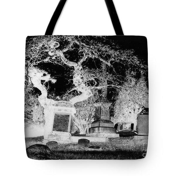 Negative Image Of Cemetary Tote Bag by JSM Fine Arts John Malone