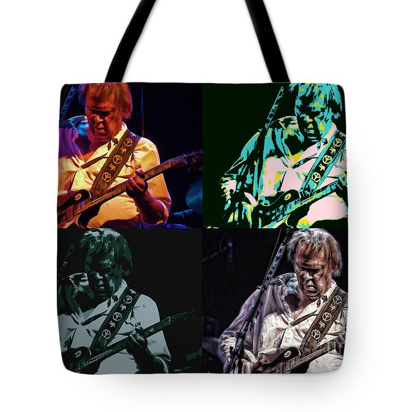 Neil Young Pop Tote Bag by Tommy Anderson