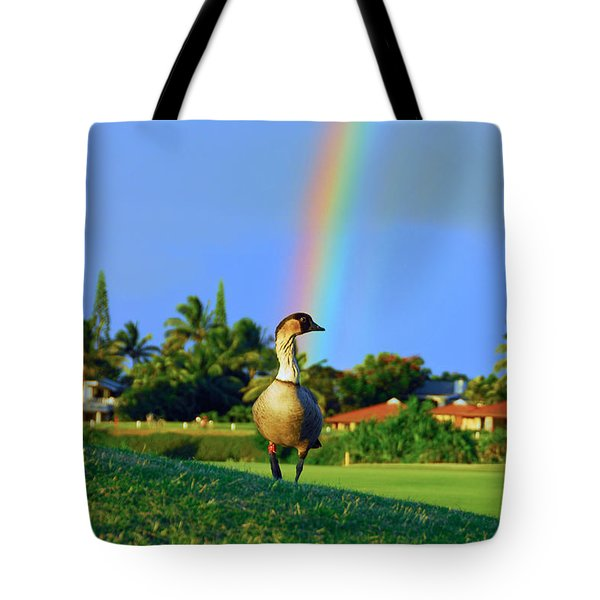 Tote Bag featuring the photograph Nene At The End Of The Rainbow by Lynn Bauer