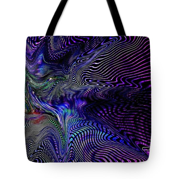 Tote Bag featuring the digital art Neon Zebra by Greg Moores