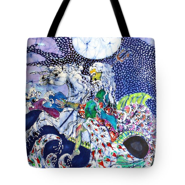 Neptune Rides The Sea Tote Bag by Carol Law Conklin