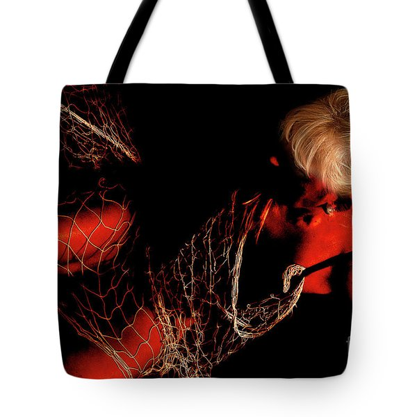Tote Bag featuring the photograph Netted A Red by Clayton Bruster