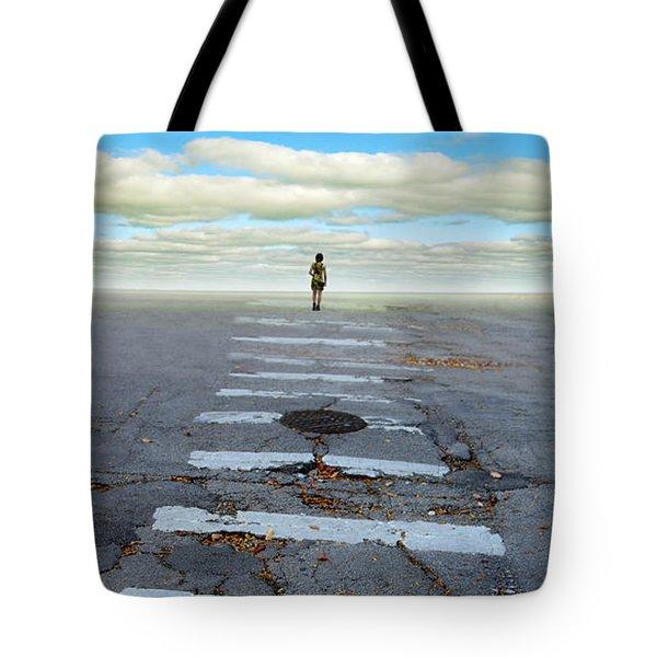 Never Ending Crosswalk Tote Bag by Jill Battaglia