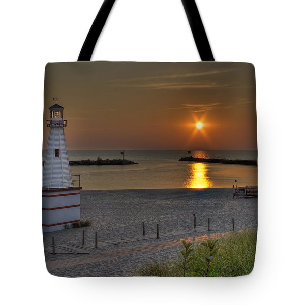New Buffalo City Beach Sunset Tote Bag