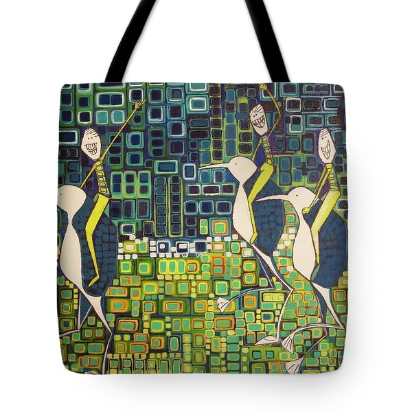 Tote Bag featuring the painting New Moon Penguin Races by Donna Howard