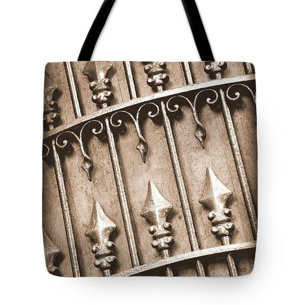 New Orleans Gate - Sepia Tote Bag by Carol Groenen