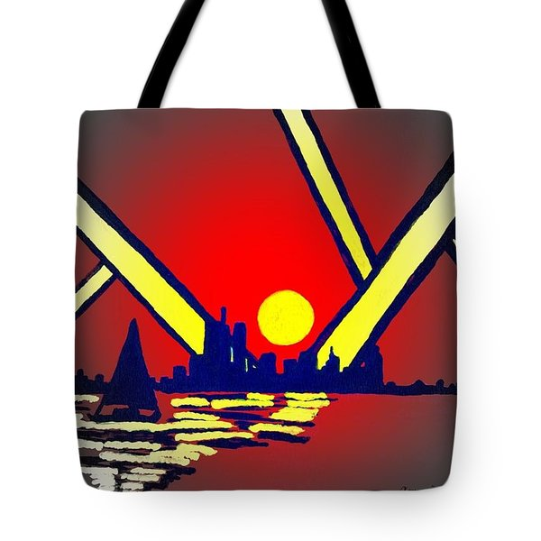 New York At Night Tote Bag by Connie Valasco