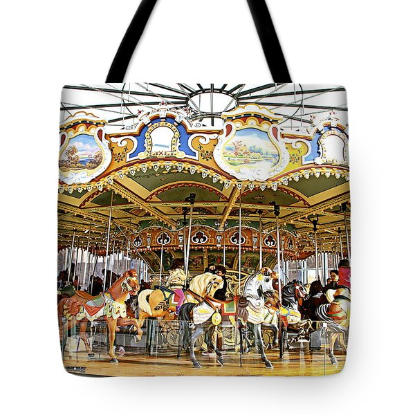 Tote Bag featuring the photograph New York Carousel by Alice Gipson