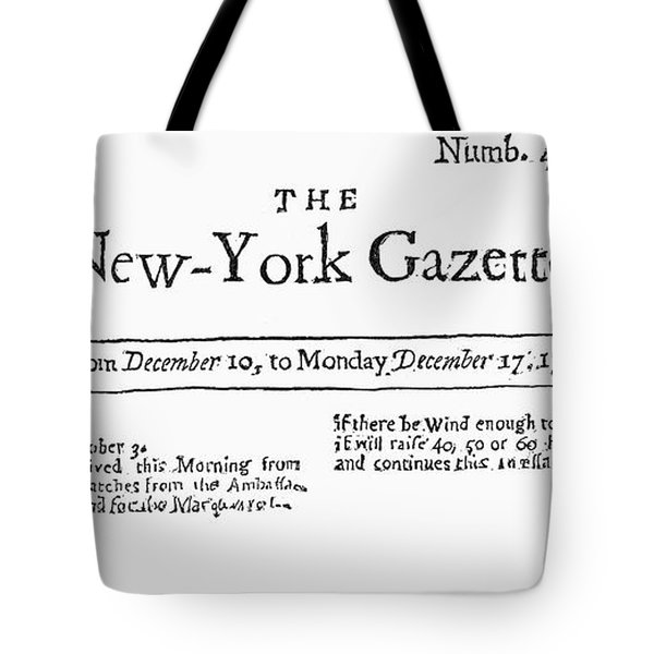 New York Gazette, 1733 Tote Bag by Granger