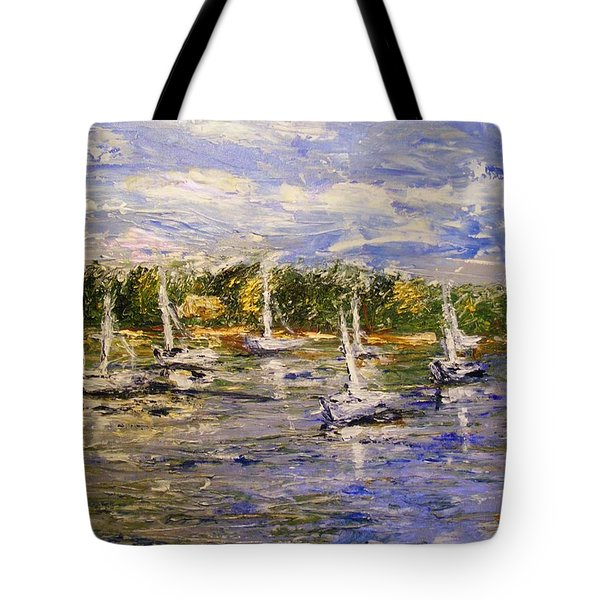 Tote Bag featuring the painting Newport Views by Karen  Ferrand Carroll