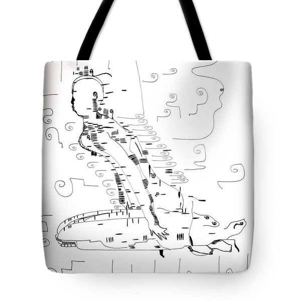 Tote Bag featuring the drawing Ngwale Dance - Botswana by Gloria Ssali