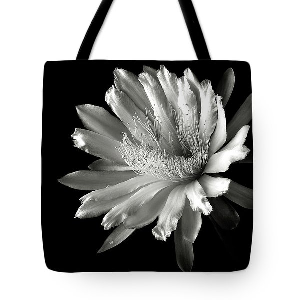 Night Blooming Cereus In Black And White Tote Bag