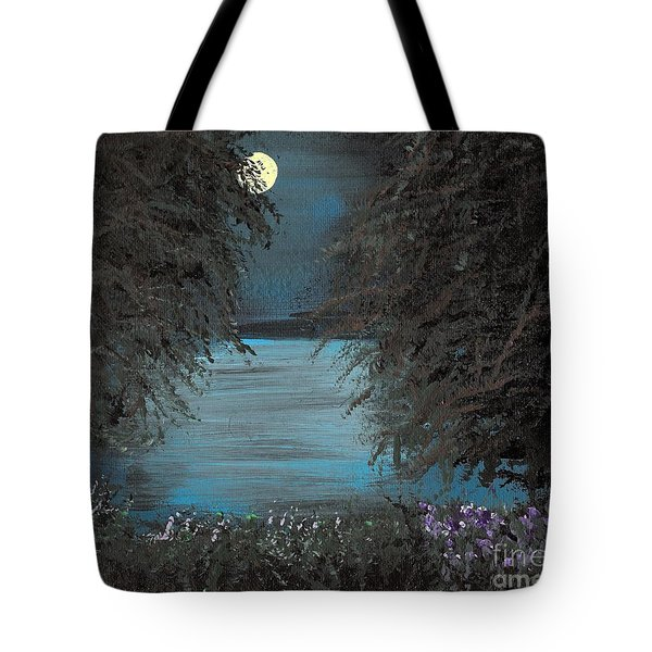 Tote Bag featuring the painting Night In The Bayou by Alys Caviness-Gober