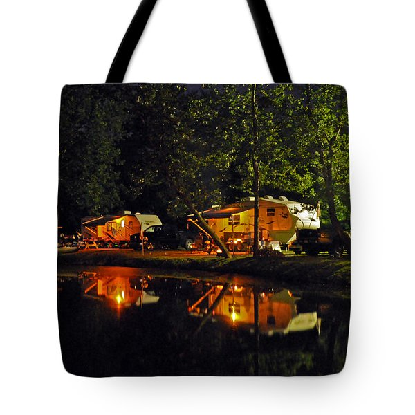 Nighttime In The Campground Tote Bag