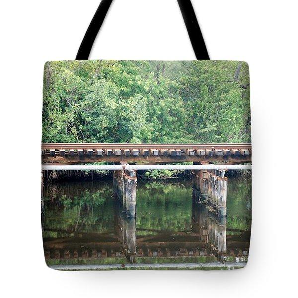 North Fork River Bridge Tote Bag by Rob Hans