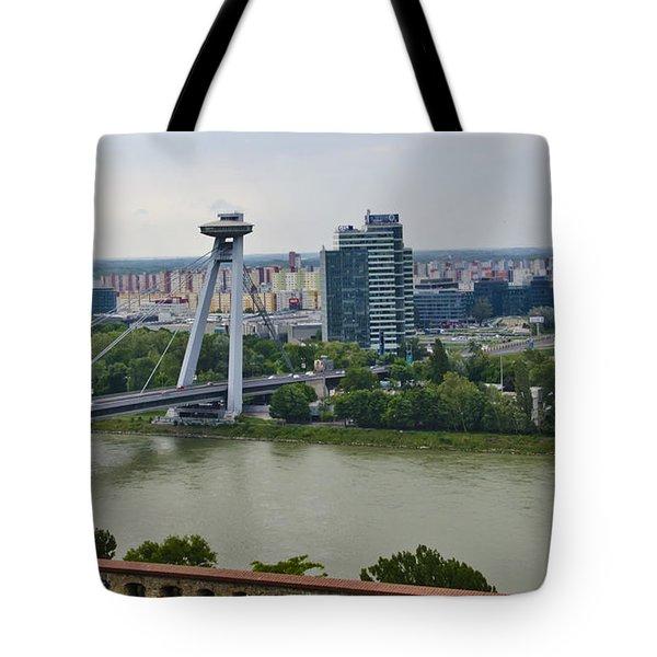 Novy Most Bridge - Bratislava Tote Bag by Jon Berghoff