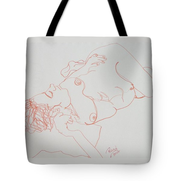 Nude Resting In Red Tote Bag by Rand Swift