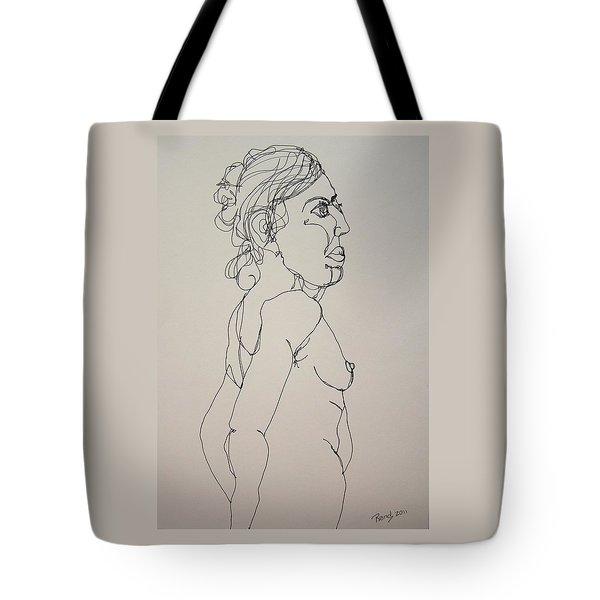 Nude Girl In Contour Tote Bag by Rand Swift