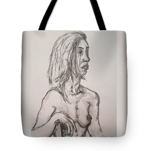 Nude In Washed Graphite Tote Bag by Rand Swift