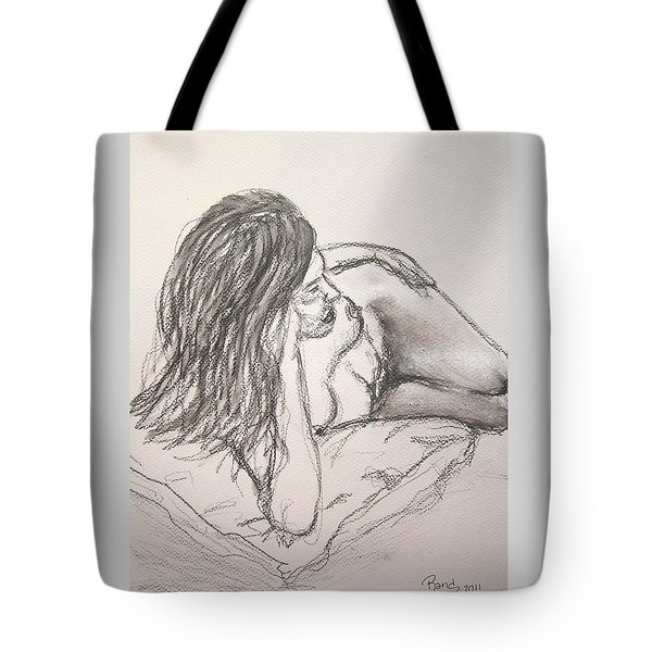 Nude On Pillow Tote Bag by Rand Swift